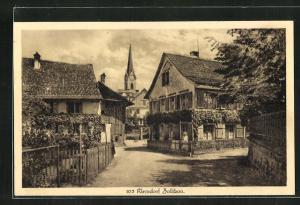 AK Zollikon-Kleindorf, Strassenpartie mit Kirchblick