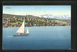 Künstler-AK Zollikon, Blick vom See auf den Ort