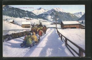 AK Gstaad, Tyling, Pferde ziehen mehrere Schlitten