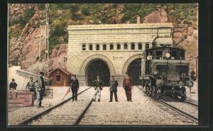 AK Jselle, Le Tunnel du Simplon, schweizer Eisenbahn