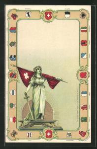 Präge-Lithographie Schweiz, Helvetia mit Fahne und Wappen