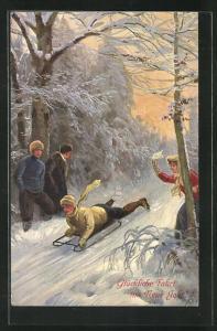 Künstler-AK Rodelpartie im Winterwald