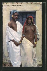 AK Types d`Orient, junges nacktes arabisches Paar