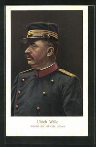 AK Ulrich Wille in Uniform, General der schweiz. Armee