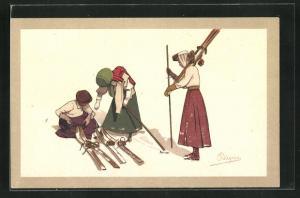 Künstler-AK Carlo Pellegrini: Damen beim Skilaufen