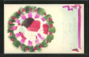 Präge-Airbrush-AK Weihnachtsmann mit Geschenken beladen, Mistelkranz, Weihnachtsgruss