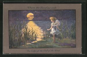 Künstler-AK S. Barham: Where the Rainbow ends, The Lake at the End of the Wood, Girl stands at the Lake
