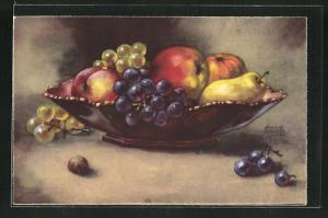 Künstler-AK Hannes Petersen: Stillleben, Trauben und Äpfel in einer Schale