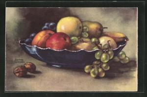 Künstler-AK Hannes Petersen: Stillleben, Birnen und Äpfel in einer Obstschale