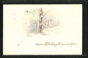 Künstler-AK Hannes Petersen: Kleiner Engel unter einem kahlen Baum im Mondschein, Neujahrsgruss