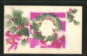 Präge-Airbrush-AK Weihnachtsmann mit Mistelkranz