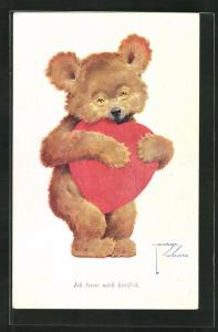 Künstler-AK Lawson Wood: Teddy mit rotem Herz