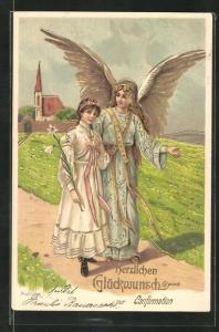 Künstler-AK Alfred Mailick: Konfirmandin wird von einem Engel geleitet