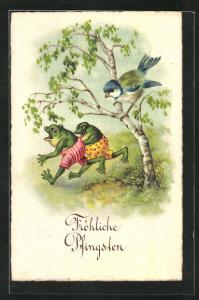 AK Vogel auf einem Baum beobachtet zwei Frösche, Pfingsgruss