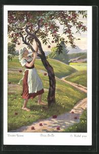 Künstler-AK Otto Kubel: Frau Holle, Die fleissige Tochter schüttelt den Baum
