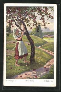 Künstler-AK Otto Kubel: Frau Holle, Die fleissige Tochter schüttelt die Äpfel