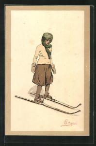 Künstler-AK Carlo Pellegrini: Frau mit Handschuhen auf Skiern