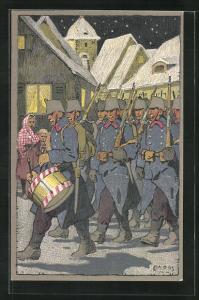Künstler-AK Carl Moos: Schweizer Soldaten in Uniformen mit Trommel, Grenzbesetzung 1914