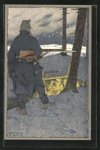 Künstler-AK Carl Moos: Schweizer Soldat in Uniformen mit Gewehr, Grenzbesetzung 1914