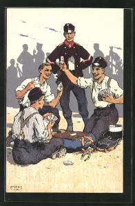 Künstler-Lithographie Carl Moos: Schweizer Soldaten in Uniformen mit Kartenspiel, Grenzbesetzung 1914