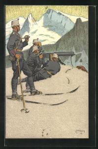 Künstler-AK Carl Moos: Schweizer Soldaten in Uniformen, Grenzbesetzung 1914