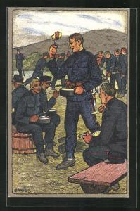 Künstler-AK Carl Moos: Schweizer Soldaten in Uniformen beim Essen, Grenzbesetzung 1914-15