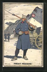 Künstler-AK Carl Moos: Schweizer Soldat in Uniform mit Gewehr, Grenzbesetzung 1914, Neujahrsgruss