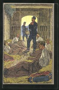 Künstler-AK Carl Moos: Tagwache, Schweizer Soldaten in Uniformen mit Trommel, Grenzbesetzung 1914-15