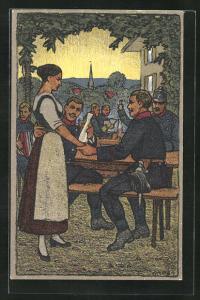 Künstler-AK Carl Moos: Apres l`Appel Principal, Schweizer Soldaten in Uniformen mit Bedienung, Grenzbesetzung 1914-15