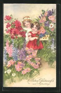 Künstler-AK Hannes Petersen: Geburtstag, Mädchen mit Blumen