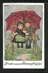 Künstler-AK P. O. Engelhard (P.O.E.): Paar mit Schirm auf der Bank