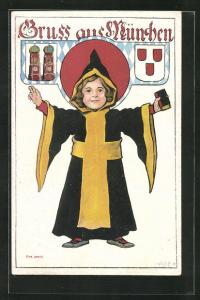 Künstler-AK P. O. Engelhard (P.O.E.): Münchner Kindl, Wappen