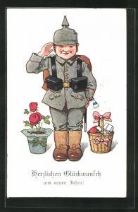 Künstler-AK P. O. Engelhard (P.O.E.): Soldat in Uniform, Blumen