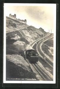 AK Vitznau-Bahn, Blick zum Rigi-Kulm-Hotel