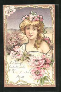 Glitzer-Lithographie Maid mit Blumen im Haar, Jugendstil