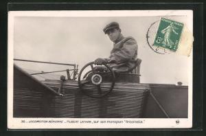 AK Pilot Hubert Latham im Flugzeug vom Typ Antoinette