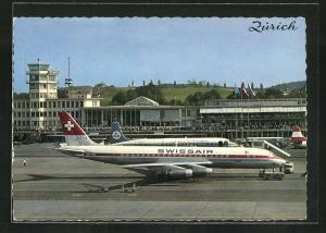 AK Zürich, Flugzeug der Swissair auf dem Flughafen Kloten