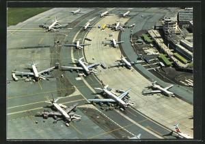 AK Zürich, Flughafen Kloten aus der Vogelschau