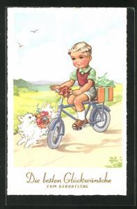AK Geburtstagsgratulant auf seinem Fahrrad