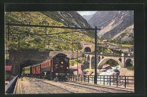 AK Elektr. Zug der Gotthardbahn verlässt den Gotthardtunnel