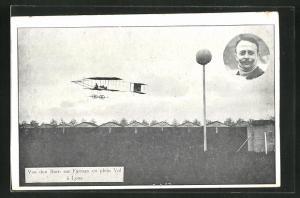 AK Lyon, Pilot Van den Born im Doppeldecker-Flugzeug