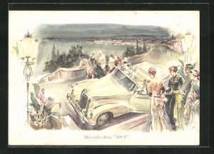 Künstler-AK Mercedes-Benz 300 S und feine Herrschaften in Abendgarderobe