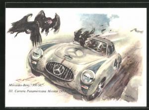 Künstler-AK Mercedes-Benz 300 SL bei der III. Carrera Panamericana Mexico 1952