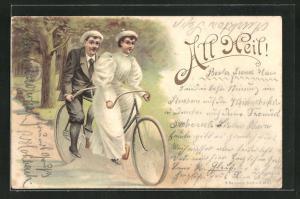Lithographie Fahrradfahrergruss All Heil!, Paar auf einem Tandem