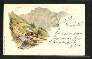 Lithographie Rochers de Naye, Bergbahn auf der Strecke