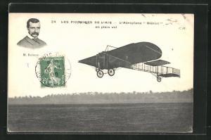 AK Pilot M. Blériot in seinem Flugzeug