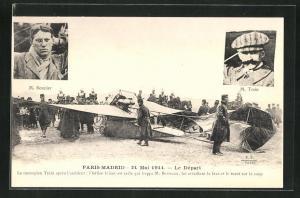 AK Piloten M. Bonnier und M. Train, Flugversuch Paris-Madrid 21.5.1911, Flugzeug vor dem Unfall