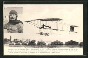 AK Pilot Marconnet im Doppeldecker-Flugzeug H. Farman