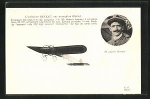 AK Pilot M. Lucien Deneau im Flugzeug vom Typ Blériot