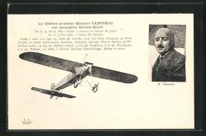 AK Pilot Maurice Tabuteau im Flugzeug vom Typ Morane-Borel